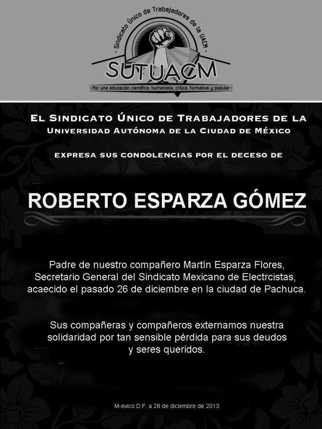 Esquela_SUTUACM_Roberto Esparza