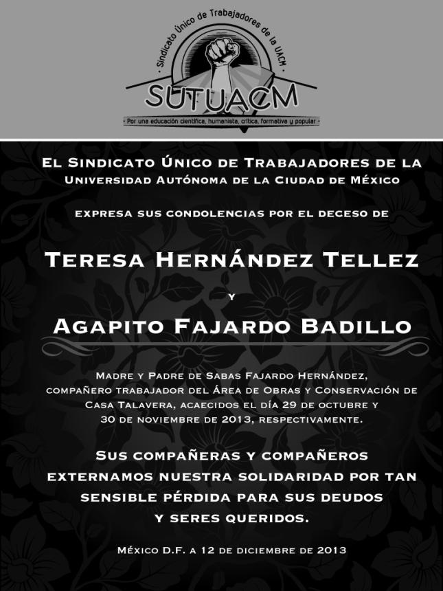Esquela_SUTUACM_TeresaHdezyAgapitoFajardo