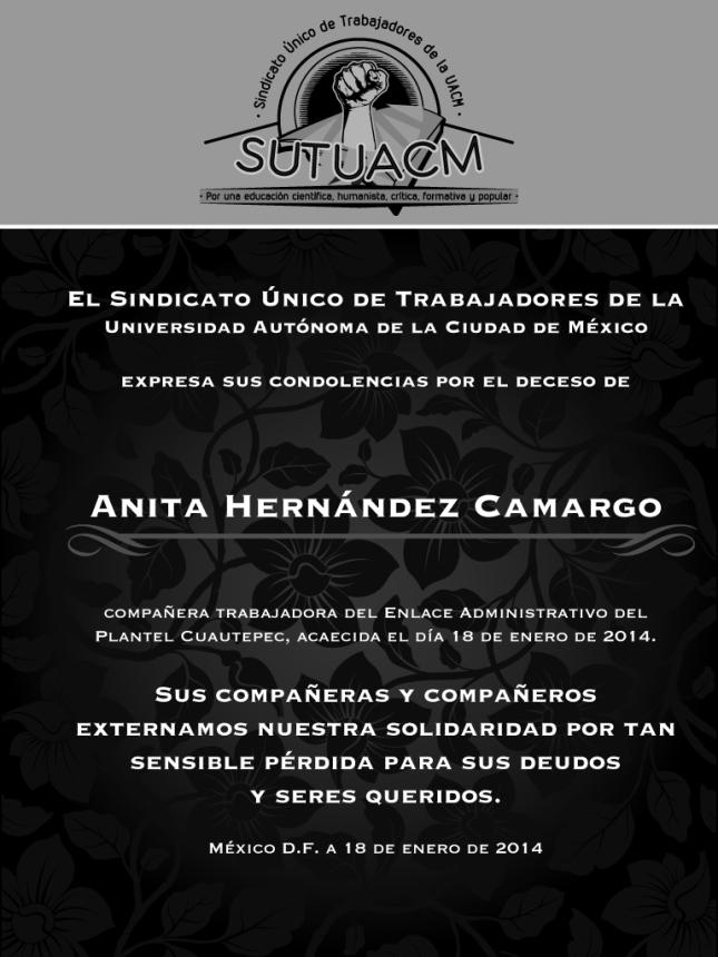 Esquela_SUTUACM_AnitaHernandezCamargo
