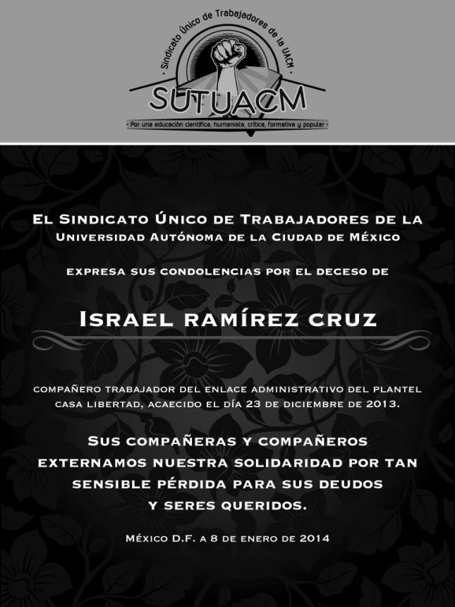 Esquela_SUTUACM_IsraelRamirezCruz