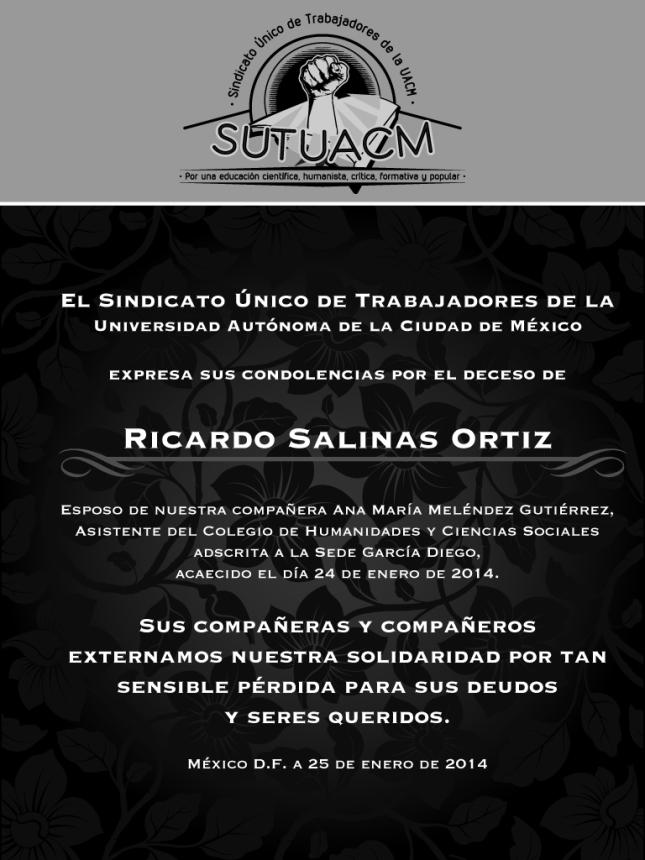 Esquela_SUTUACM_RicardoSalinasOrtiz