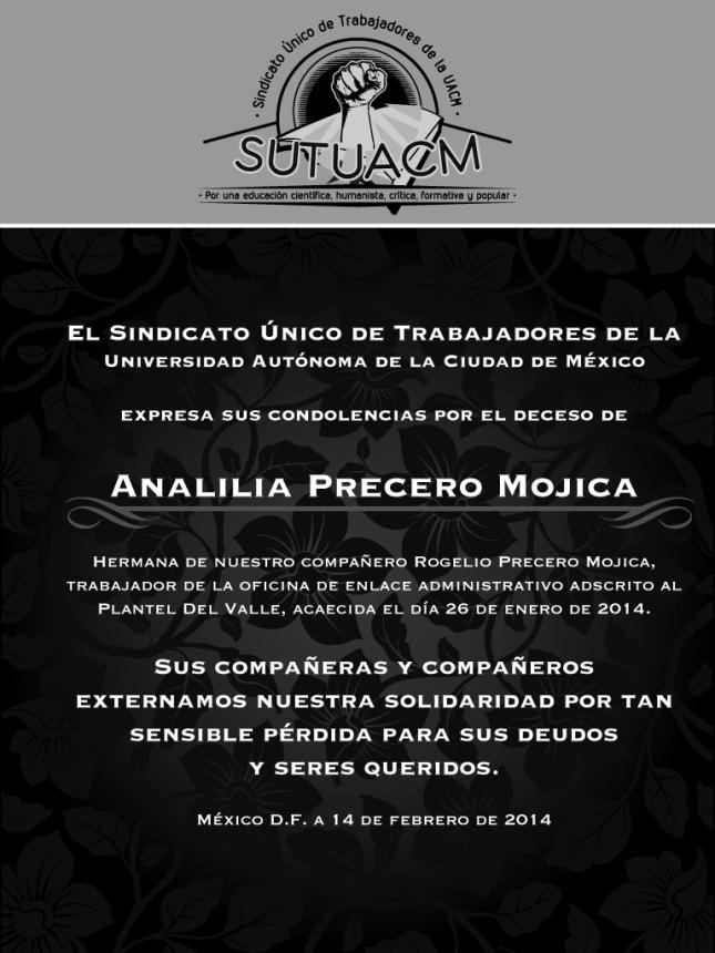 Esquela_SUTUACM_AnaliliaPrecero